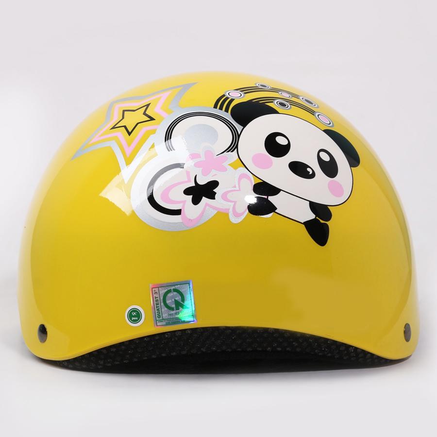Mũ Bảo Hiểm Chita CT9A Màu Vàng Sơn Bóng Tem Gấu Trúc