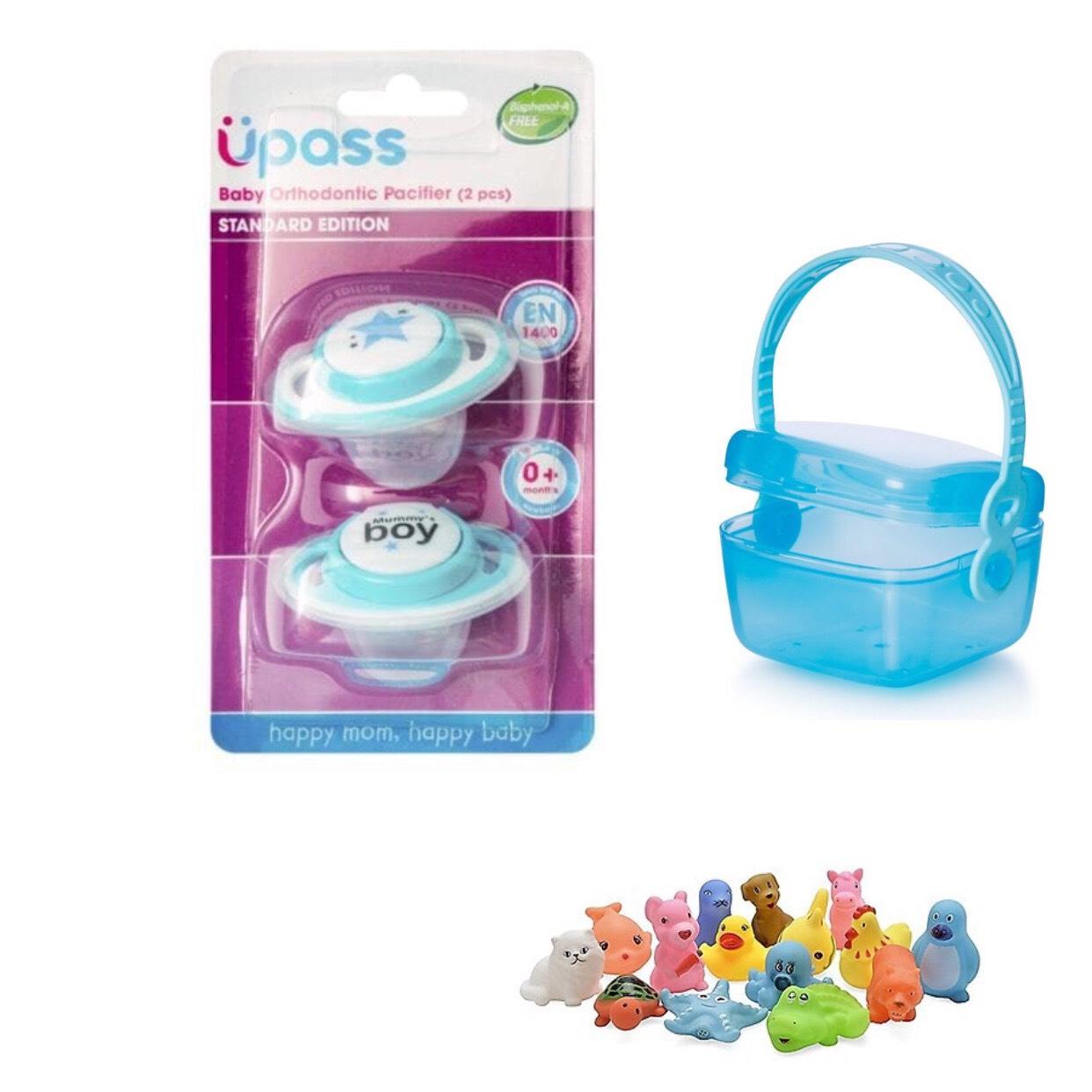 COMBO Bộ 2 Ty Ngậm Chỉnh Nha Upass Cho Bé Không BPA / UP0284N Kèm Hộp Đựng UP4276 - Tặng 6 bé chip xinh