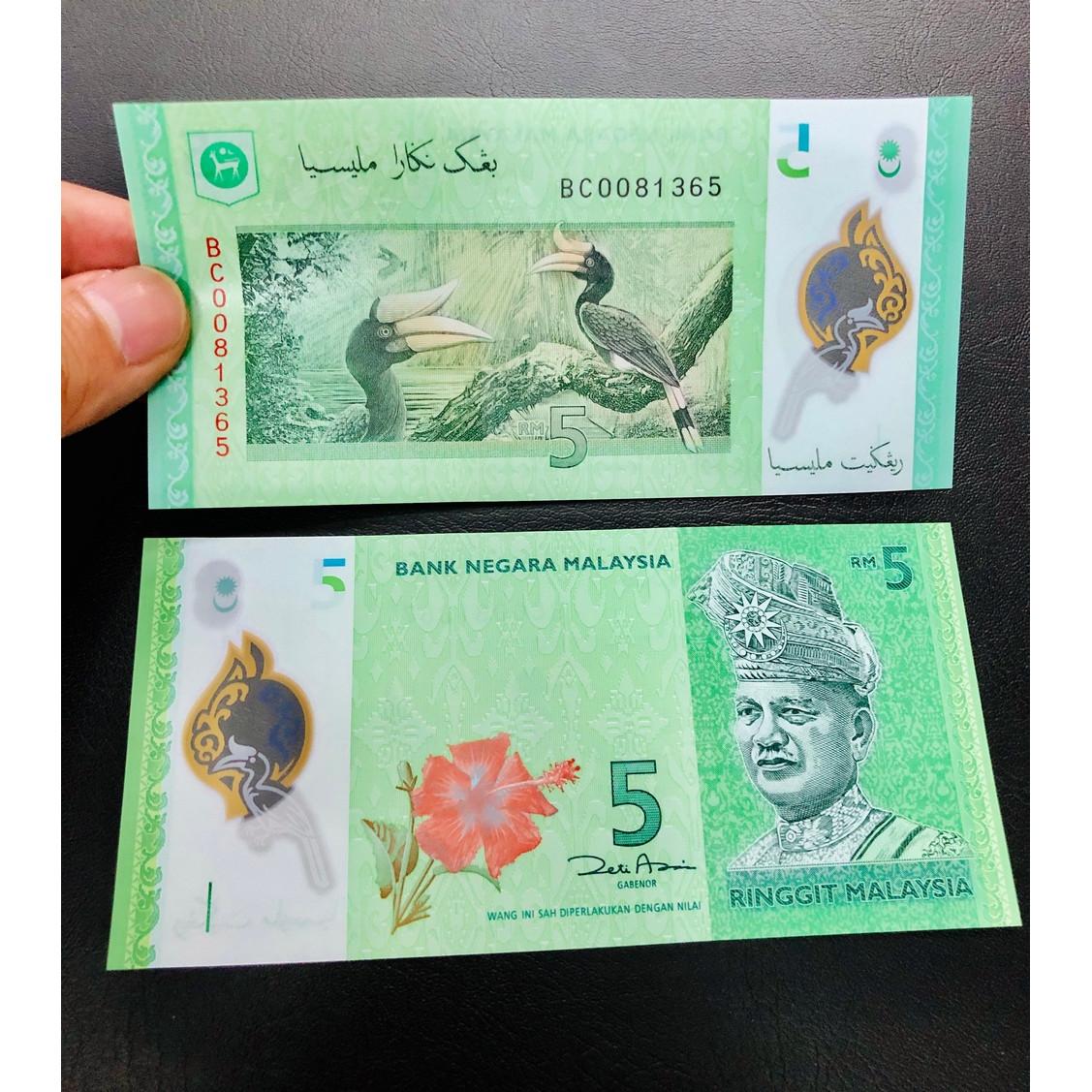 Tờ tiền polyme của Malaysia 5 Ringgit xưa, hình ảnh chú chim tuyệt đẹp