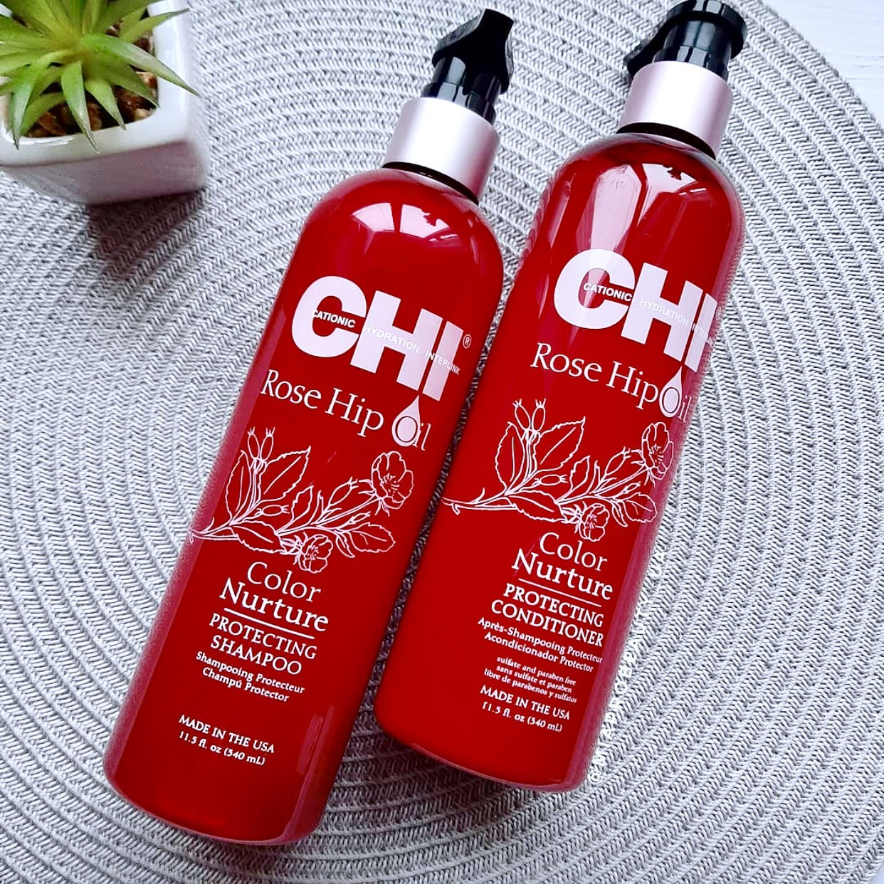 Dầu gội CHI Rose Hip Oil Color Nature giữ màu tóc nhuộm Mỹ 340ml
