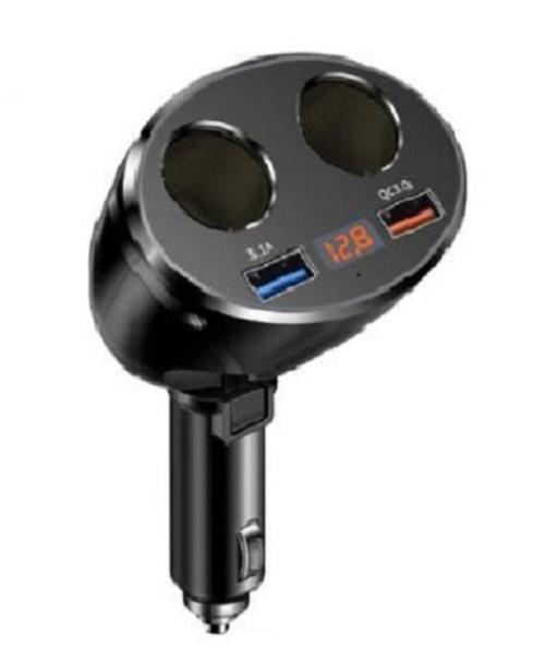 Bộ Chia Tẩu Sạc Ô Tô Không Dây – Chia 2 Cổng Tẩu, 2 Cổng USB Cao Cấp Trên Ô Tô