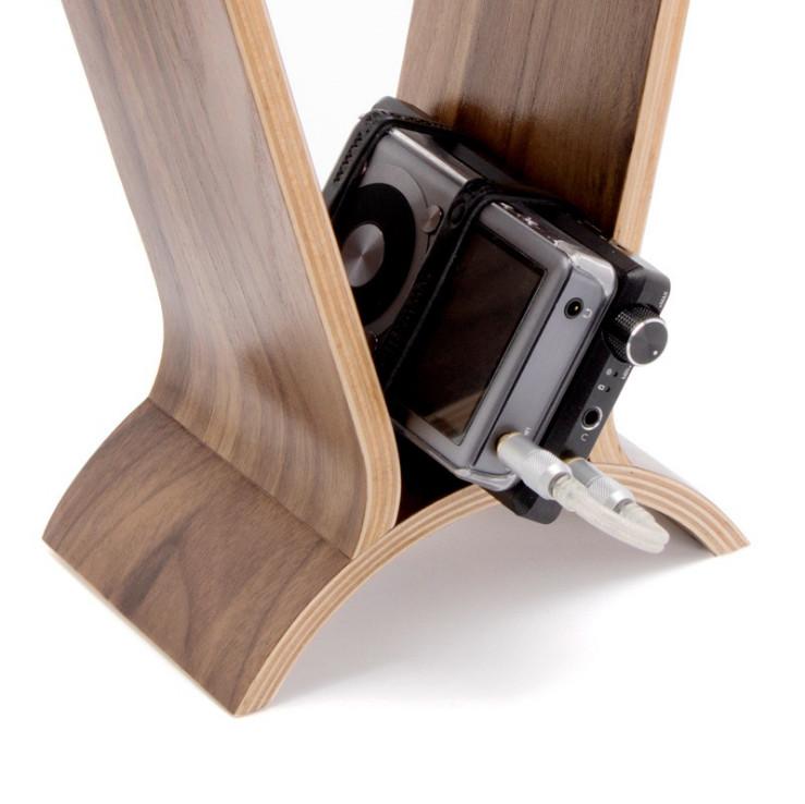 Giá đỡ tai nghe bằng gỗ màu quả óc chó hình cầu Computer Headset  - Hàng Nhập Khẩu