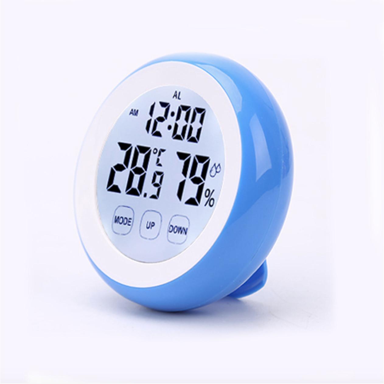 Đồng hồ báo thức kỹ thuật để bàn tròn mini đo độ ẩm và nhiệt độ