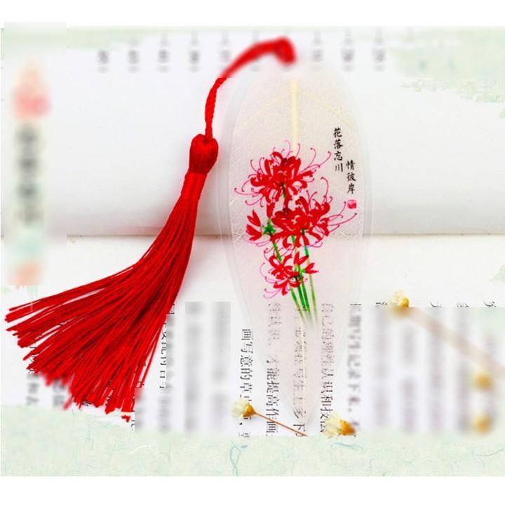 Book mark gân lá hoa bỉ ngạn vong xuyên đánh dấu trang sách phong cách cổ trang tặng ảnh thiết kế Vcone