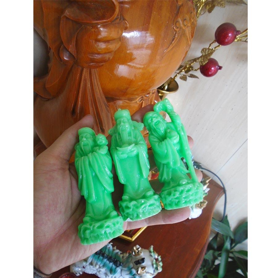 Bộ tượng đá poly tam đa Phúc Lộc Thọ xanh ngọc loại nhỏ TDX10