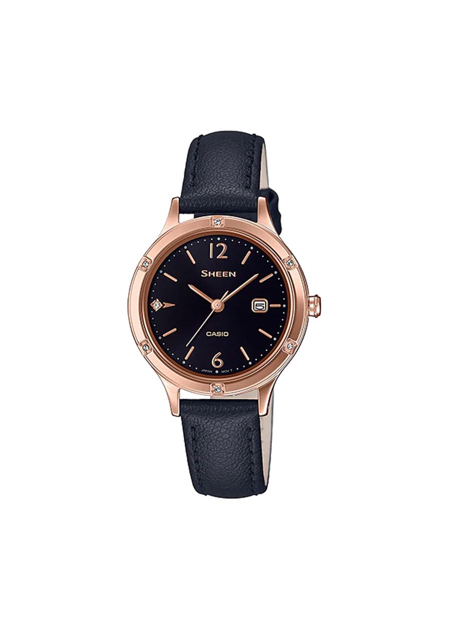 Đồng hồ nữ dây da Casio Sheen chính hãng SHE-4533PGL-1AUDF