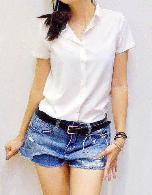 Áo sơ mi trắng kiểu tay ngắn mềm mại nữ công sở L203, kiểu áo sơ mi nữ đẹp, nhẹ nhàng thoải mái cho các bạn nữ