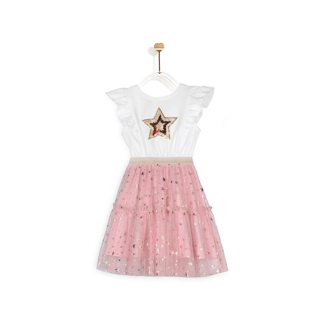 Đầm Bé Gái M.D.K Knit X Glitter Mesh Dress CGHOL20D10