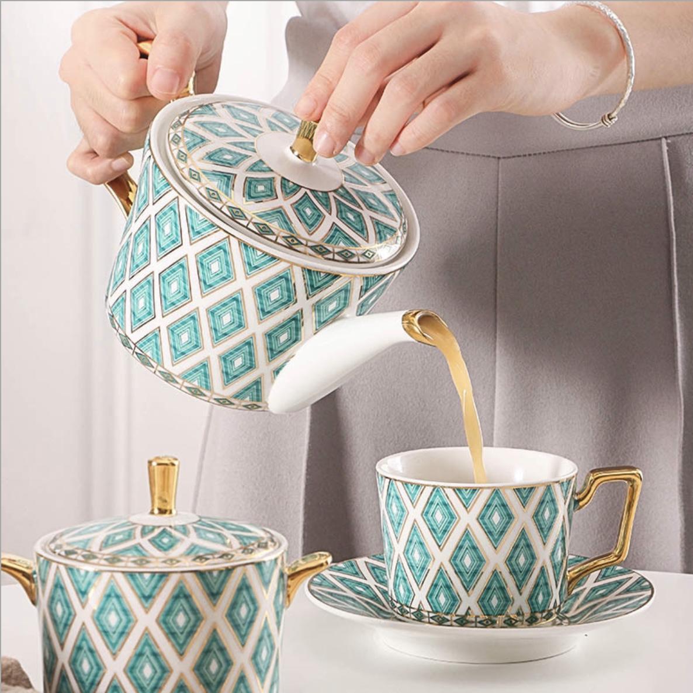 Trọn bộ ly tách uống trà sang trọng 3-D-C3-T3224 - trọn bộ như ảnh