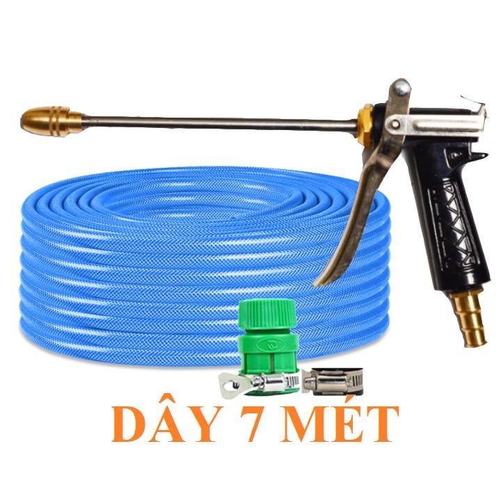 Bộ dây vòi xịt nước rửa xe, tưới cây . tăng áp 3 lần, loại 7m, 10m 206318 đầu đồng, đai, + tặng mở chai