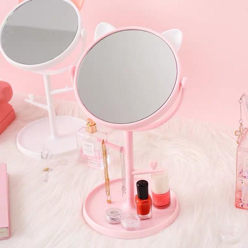 Gương để bàn tai mèo dễ thương kèm theo khay phụ kiện xoay 360 độ