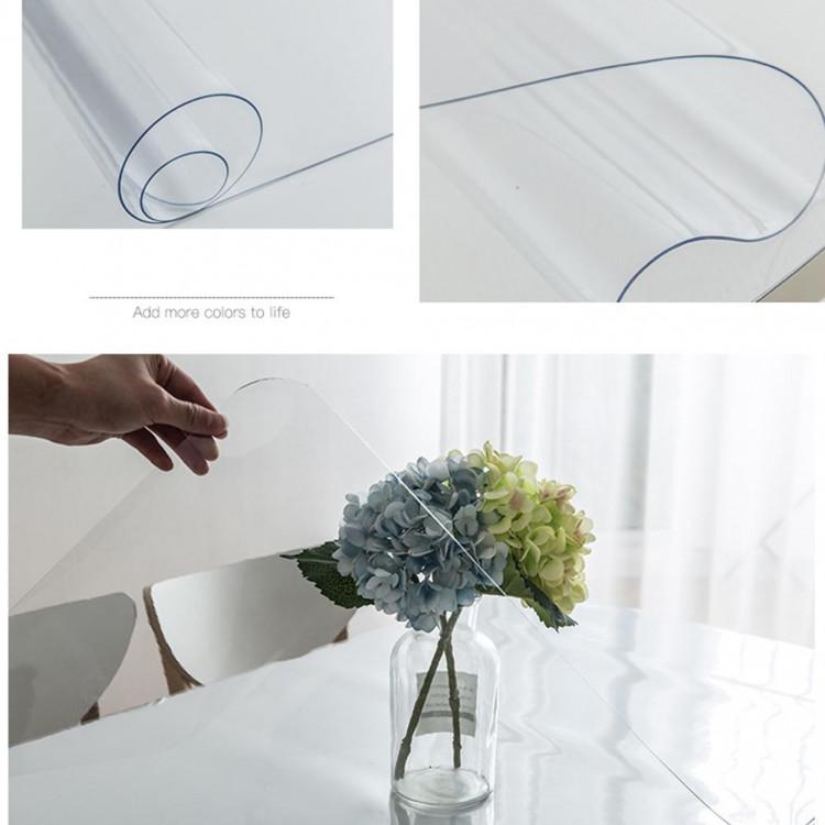 Khăn trải bàn PVC dẻo, màu trắng trong suốt, Chống thấm nước, Chống thấm dầu, Chống trượt, Trải bàn ăn, bàn khách, tivi dày 1.0mm
