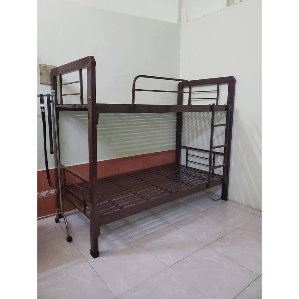 Giường hai tầng sắt hộp cao cấp tầng dưới 1m tầng trên 1m