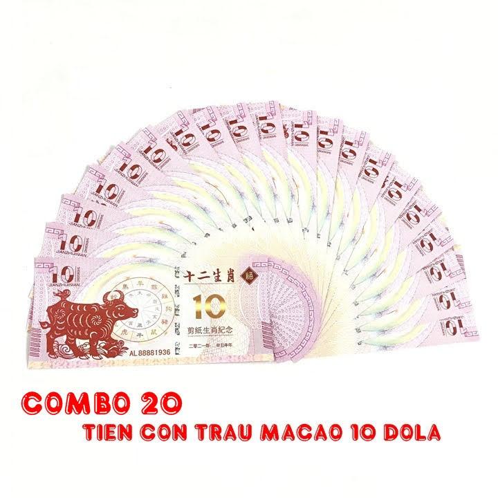 Combo 20 tờ lưu niệm 10 dola Macao hình con Trâu, dùng để sưu tầm, lưu niệm, làm tiền lì xì độc lạ, may mắn, ý nghĩa