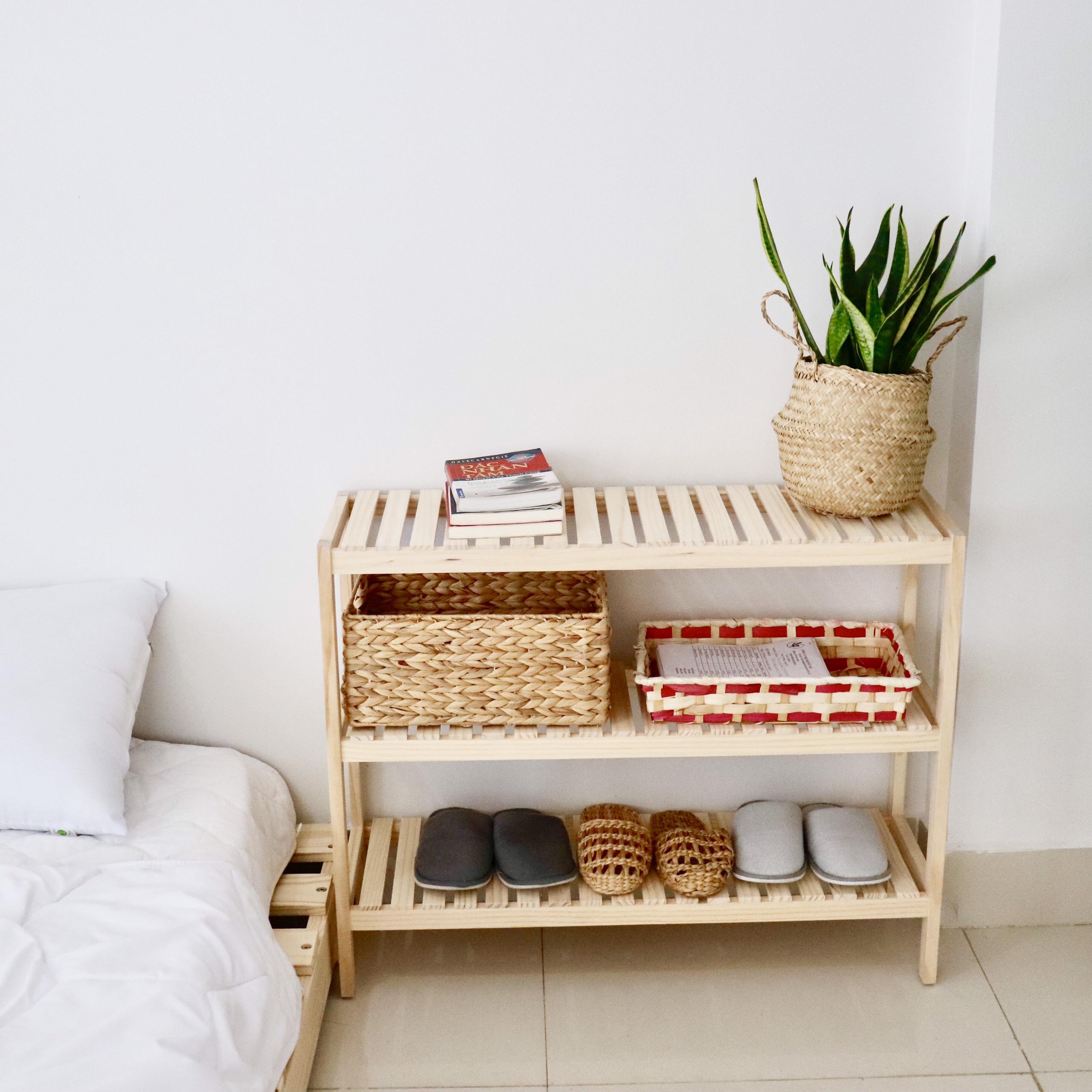 Kệ dép kệ đa năng 3 tầng gỗ thông Twin Home size 80cm màu tự nhiên