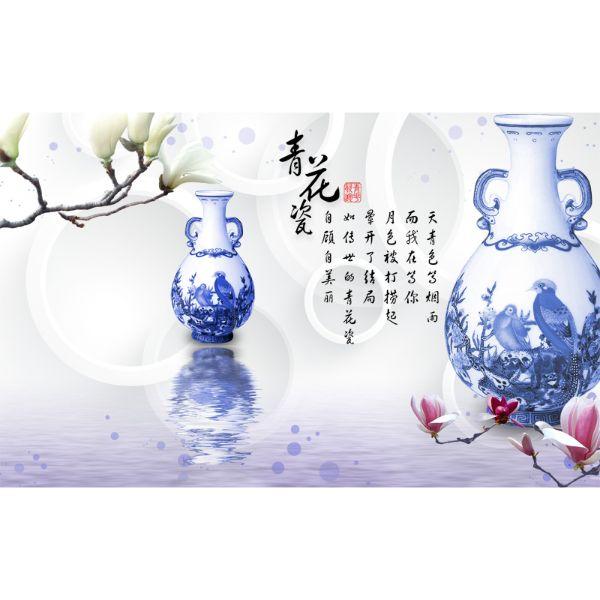 Decal Dán Tường - Tranh Bình Hoa - T3M--3362-copy