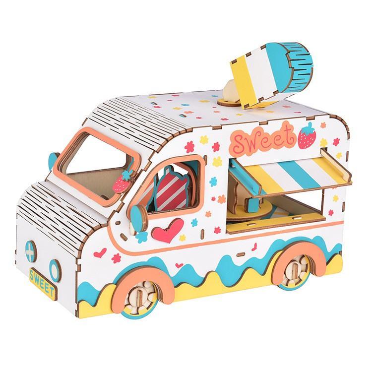 Đồ chơi lắp ráp gỗ 3D Mô hình Xe Bán Kem Ice Cream Truck HB04