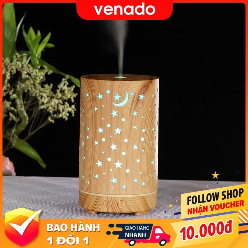 Máy xông tinh dầu phun sương tạo ẩm hình Đèn Lồng Trăng Sao vân gỗ Venado
