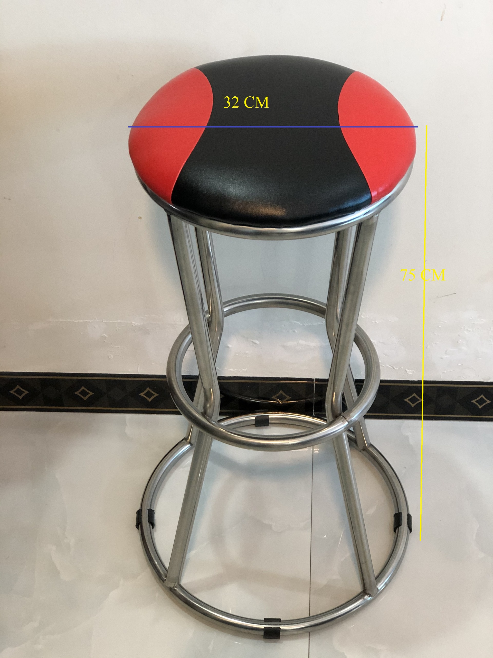Ghế quầy bar inox VIMOS chân vòng tròn, cao 75cm