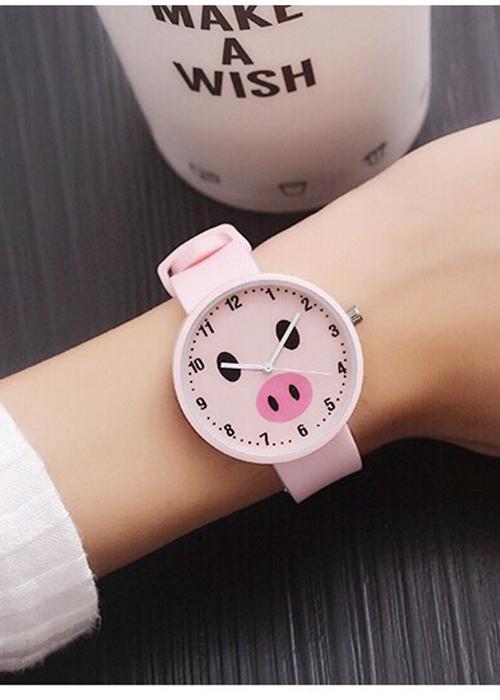 Đồng hồ nữ Ulzzang heo ủn xinh xắn dây silicon cao cấp