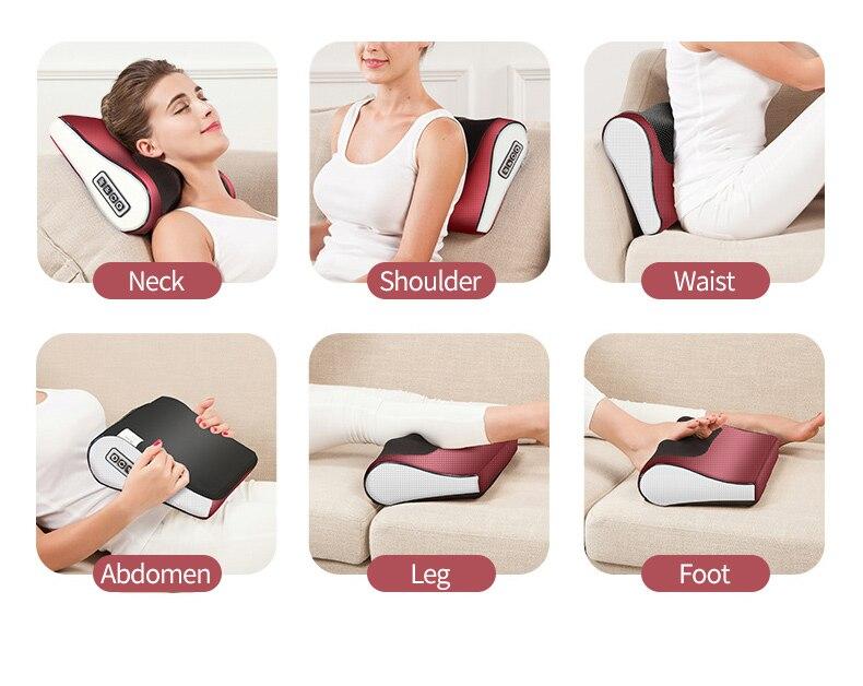 Gối Massage, Máy Massage Hồng Ngoại Cổ Vai Gáy Lưng Giảm Đau Đầu Hiệu Quả 16 Bi Cao Cấp Thế Hệ Mới