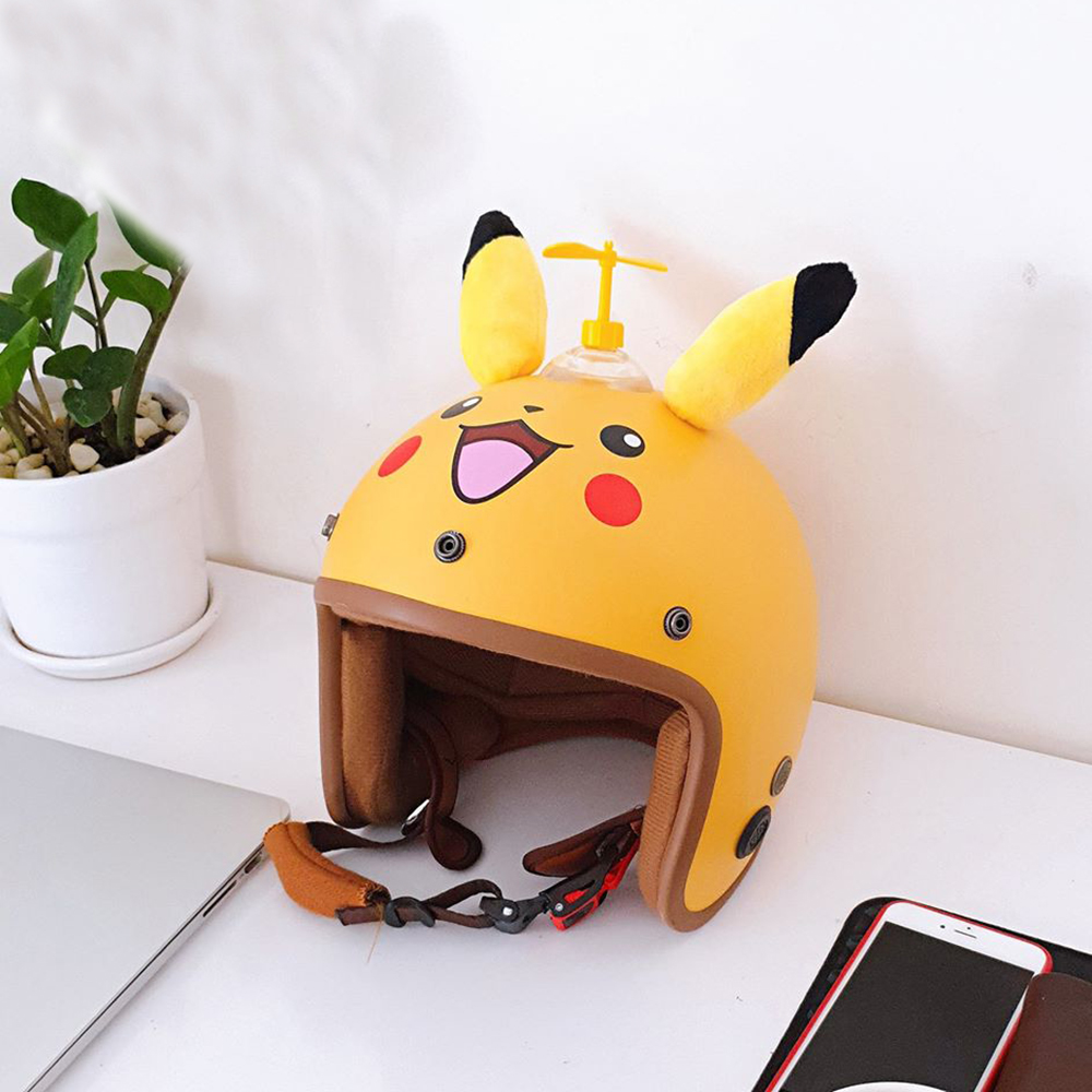 Nón Bảo Hiểm Phượt SRT 3/4 Pikachu tặng chong chong gắn nón màu ngẫu nhiên + Kèm lưỡi chai chống nắng, chống chói tự tháo lắp siêu tiện lợi