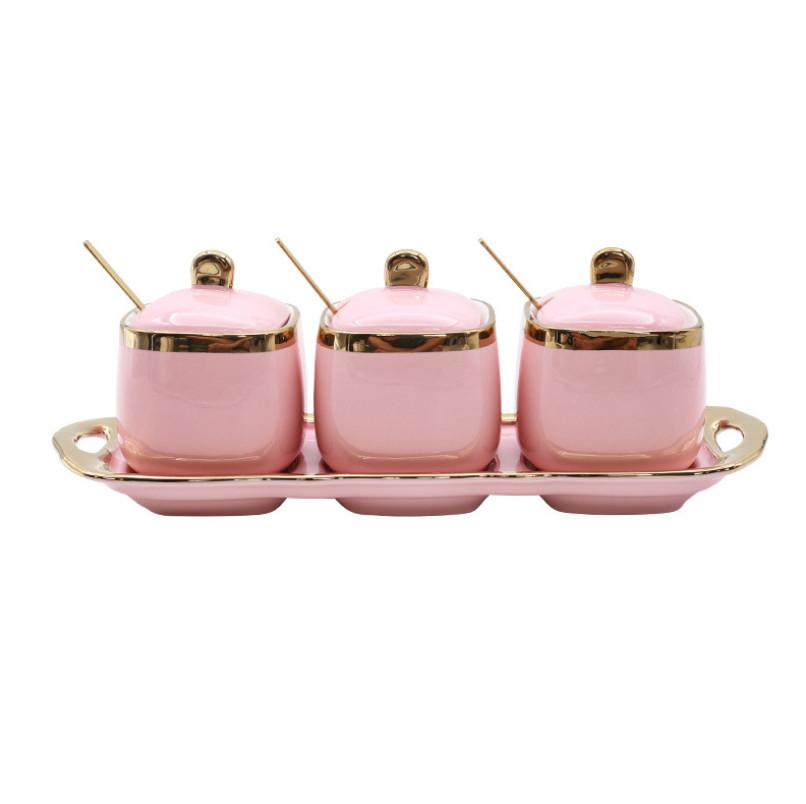 Bộ 3 lọ gia vị Sứ cao cấp Rubber Pink
