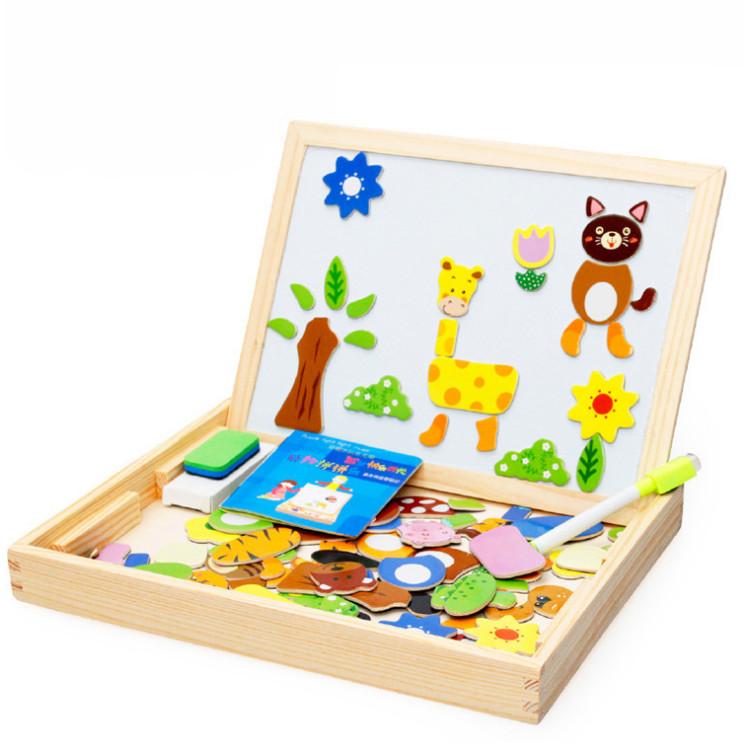 Bảng ghép nam châm hai mặt đồ chơi gỗ thông minh cho bé