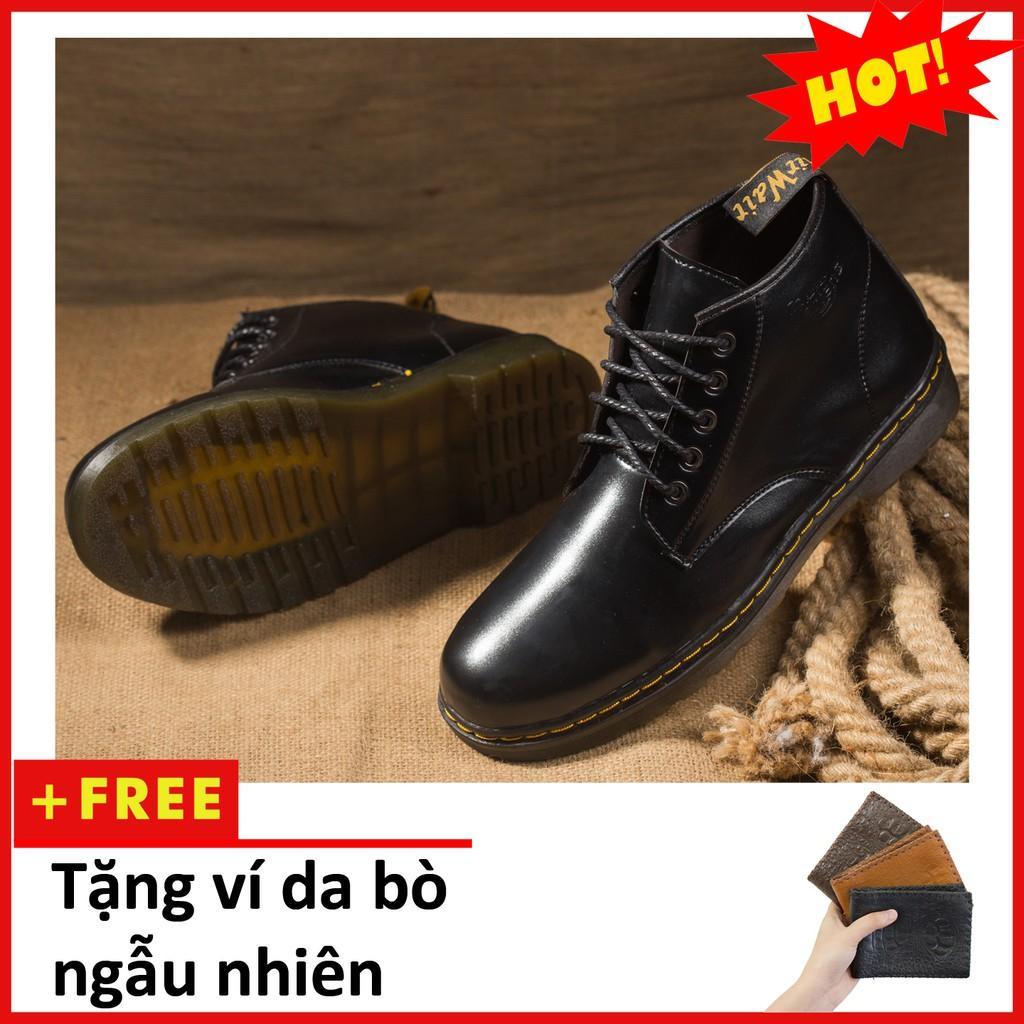 Giày Boot Nam Cổ Lửng Đế Khâu Da Trơn Màu Đen Cực Chất - M354-DEN(V)-DEN