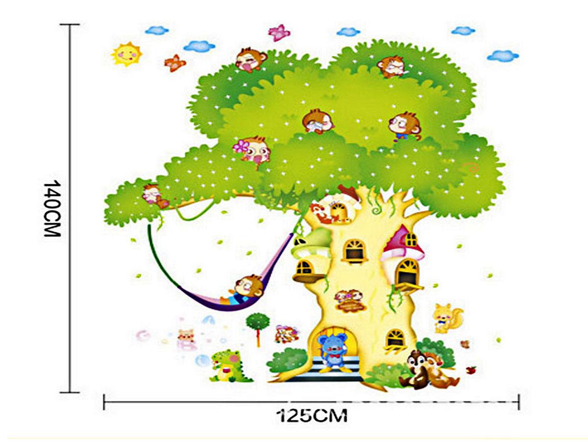 decal dán tường cho bé nhà khỉ trên cây ngộ nghĩnh 2 mảnh xy1103