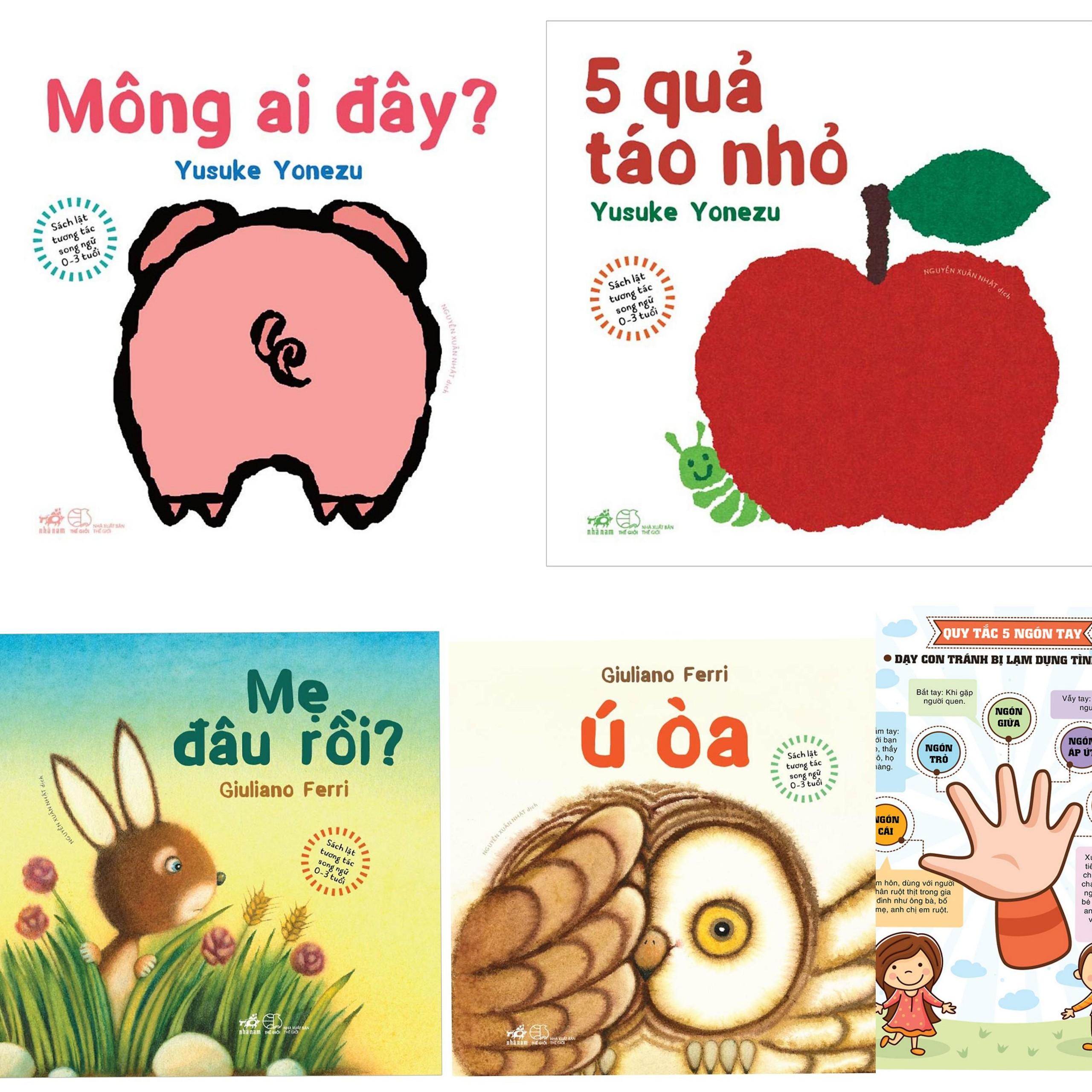 Combo Sách Lật Tương Tác Song Ngữ 0-3 tuổi: Mẹ đâu rồi + Ú òa + Mông Ai Đây + 5 quả táo nhỏ + Poster An Toàn (Sách Phát Triển Giác Quan / Trí Tuệ cho bé)