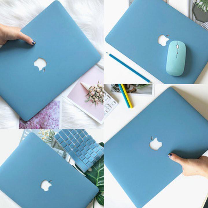 Ốp Macbook màu Xanh pastel đủ dòng (Tặng kèm nút chống bụi và bộ chống gãy sạc)