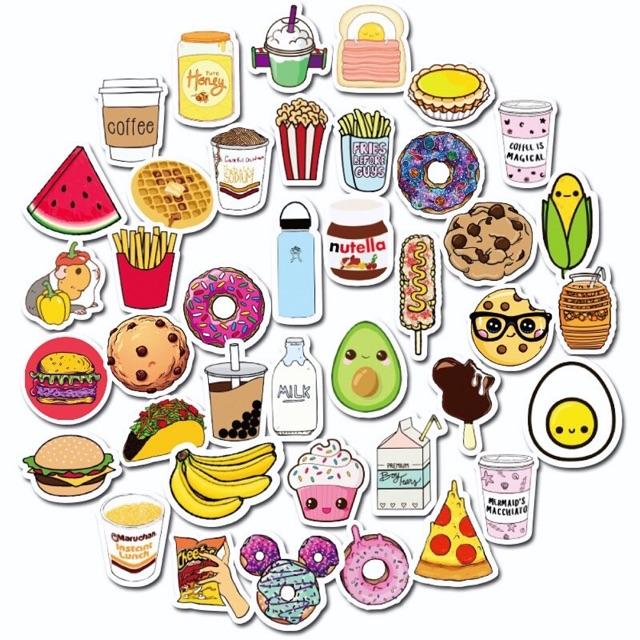 Sticker Hình Fast Food siêu cute dành cho xe máy, mũ bảo hiểm, laptop