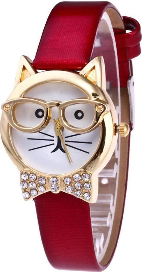 Đồng hồ nữ dây da hình mặt mèo đeo kiếng dễ thương - đỏ