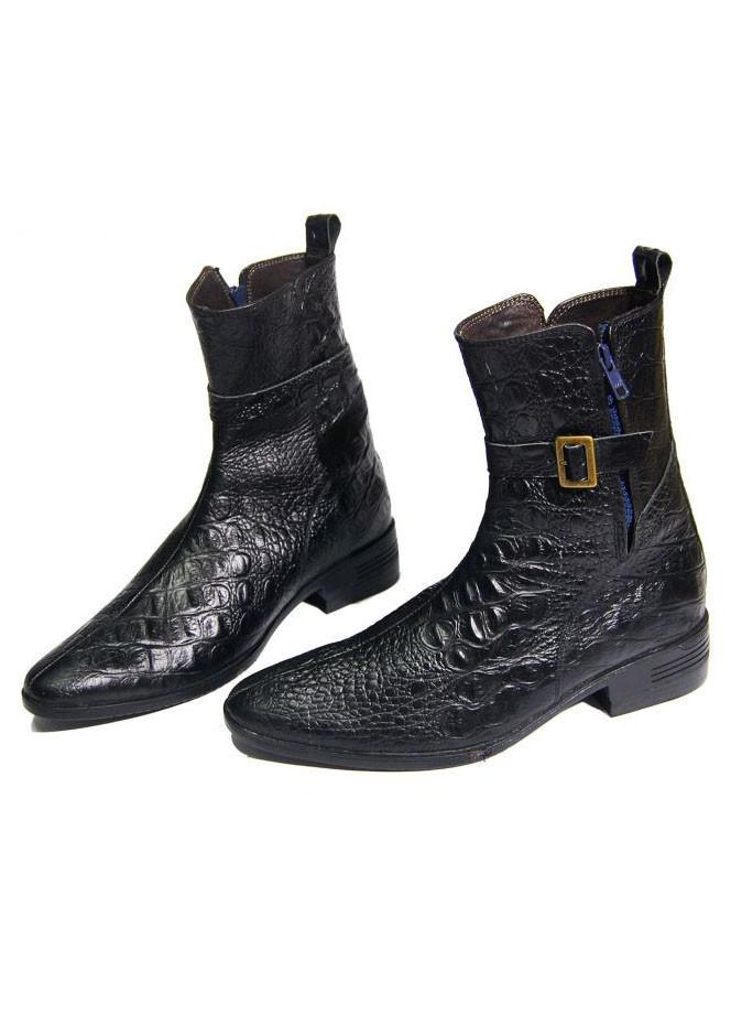 Giày Boots Nam Vân Cá Sấu Da Bò Thật B138