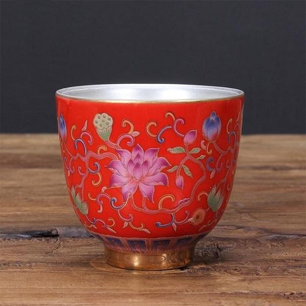 Chén Bạc uống trà Hoa Sen ngũ sắc – màu đỏ