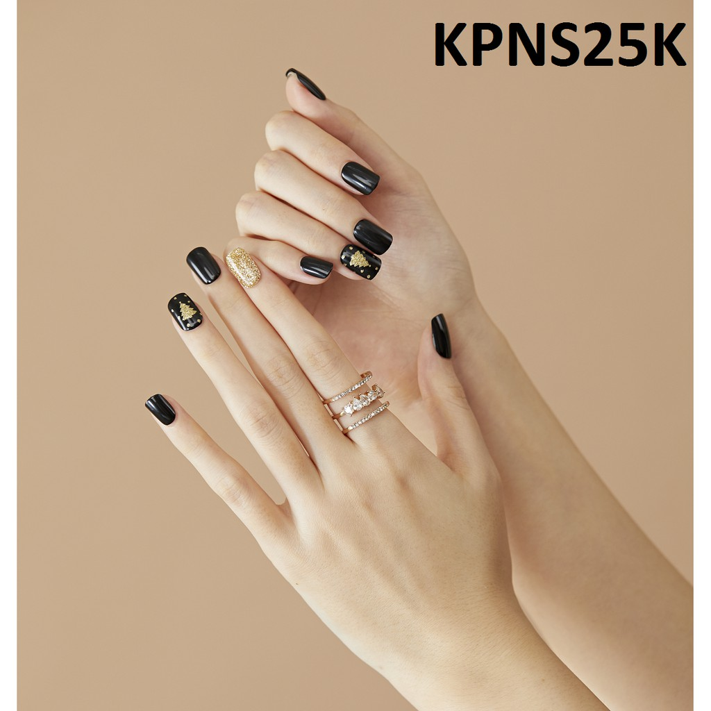 Bộ 30 Móng Tay Gel Dán Press & Go Kiss New York Nail Box - Black Golden Tree (KPNS25K)