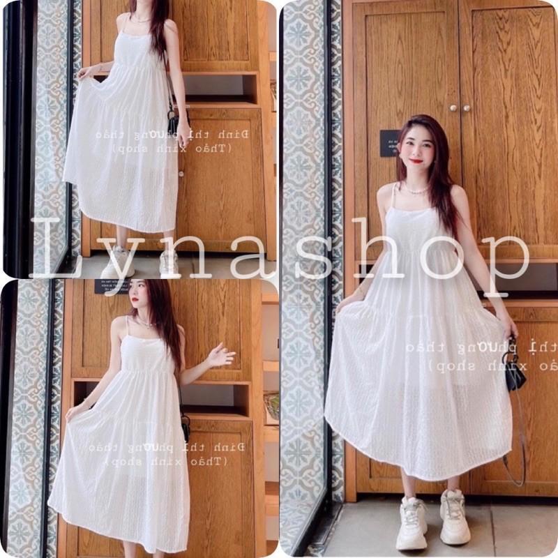 Đầm nữ váy tiểu thư Đầm Maxi 2 Dây Trắng Váy Nữ Chất Đũi Dáng Xòe, váy suông 2 dây dáng dài phù hợp đi chơi, đi biển