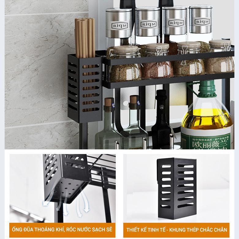 Kệ gia vị chữ E 3 tầng cao cấp VANDO bằng thép carbon chống gỉ, chống xước, kệ đựng chai lọ gia vị đa năng, kệ để đồ nhà bếp gọn gàng, sang trọng