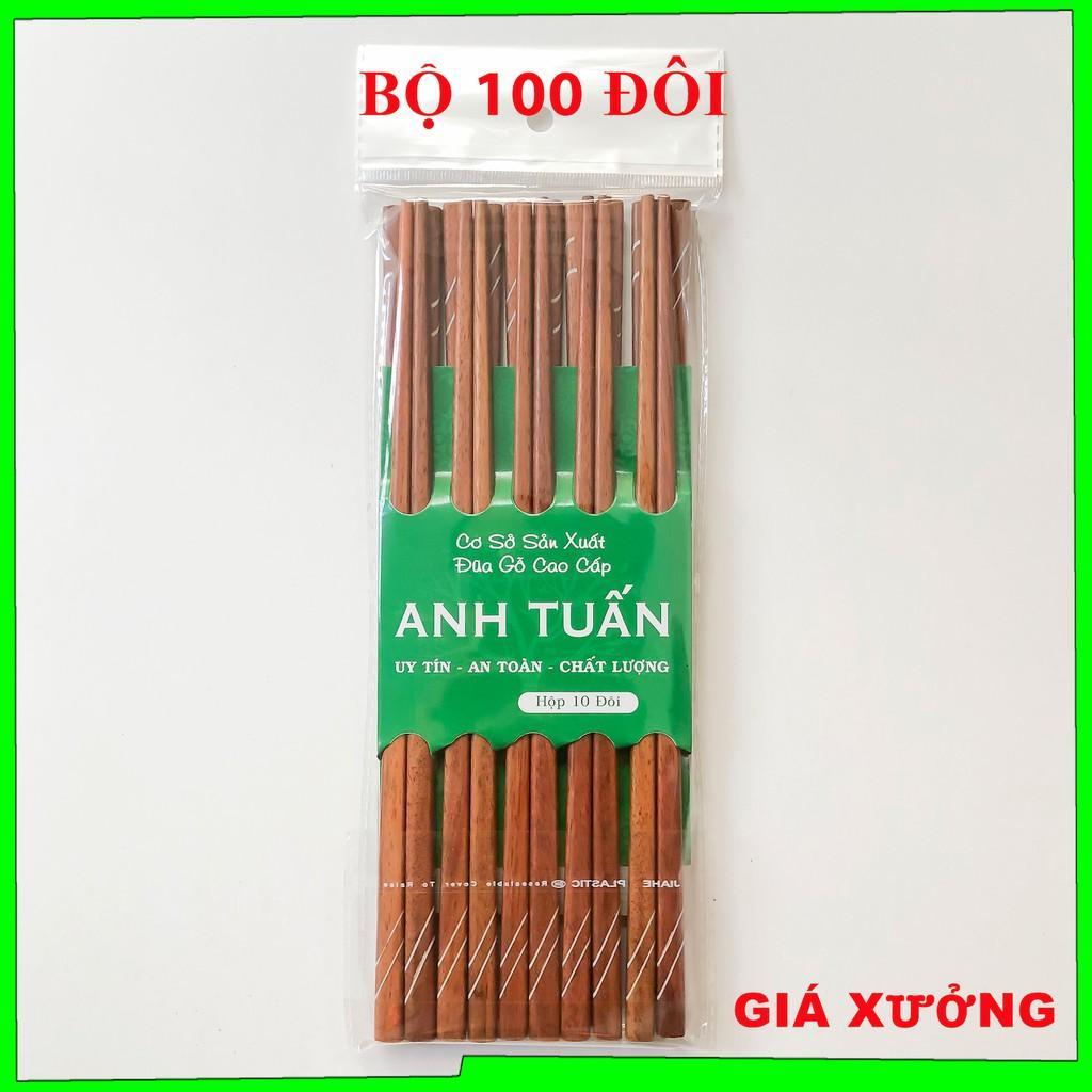 Bộ 100 đôi đũa KHẢM đũa ăn cơm gỗ cao cấp đũa gỗ CẨM HỒNG, đũa đẹp, chống mốc, kháng khuẩn