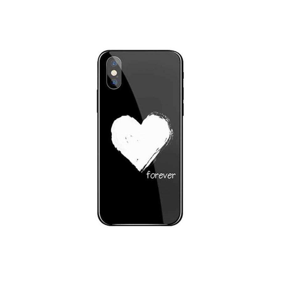 Ốp lưng mặt kính cao cấp sang trọng cho iPhone XXS - Love Forever - đen - HÀNG CHÍNH HÃNG