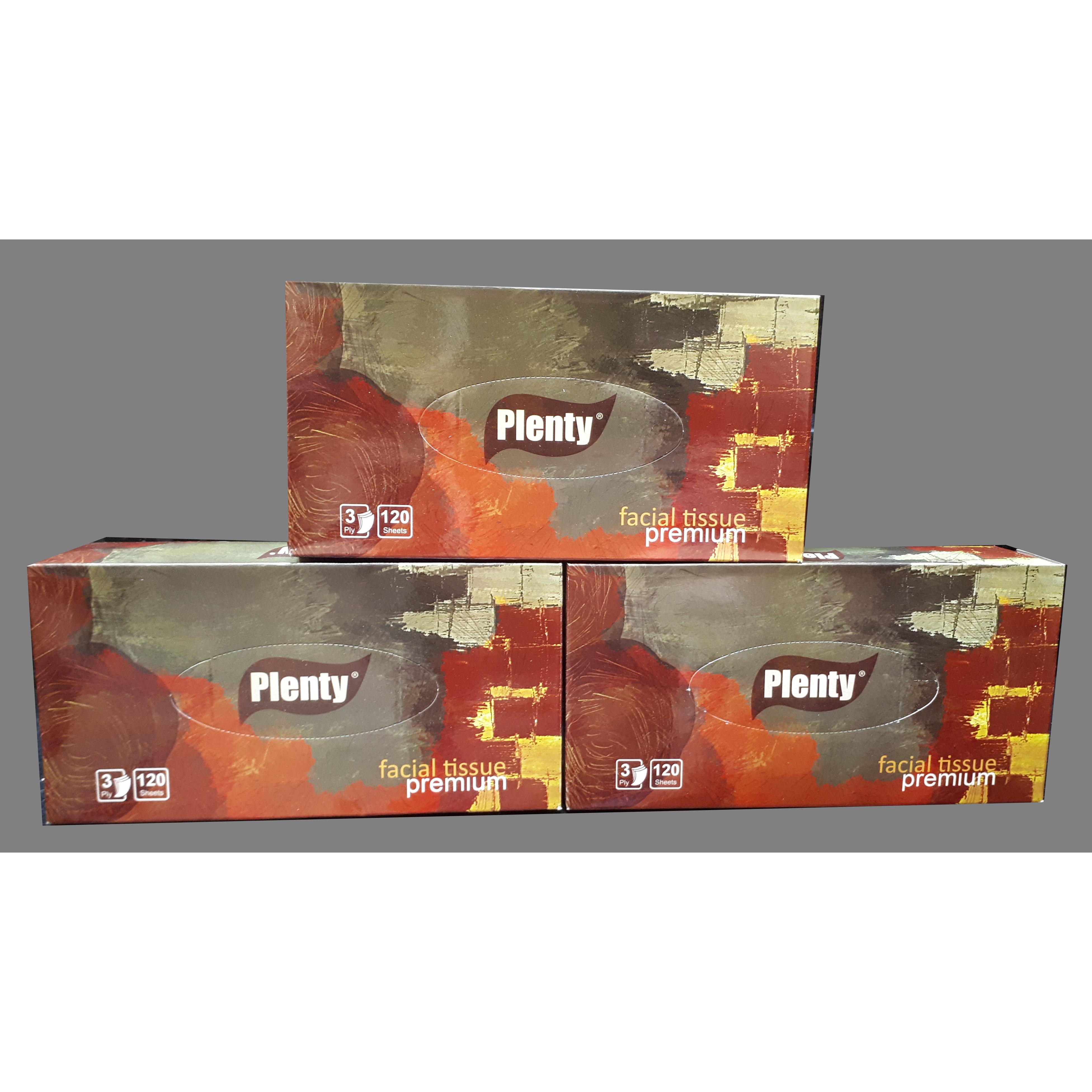Combo 3 hộp Khăn Giấy Rút Cao Cấp PLENTY 3 Lớp 120 Tờ/hộp
