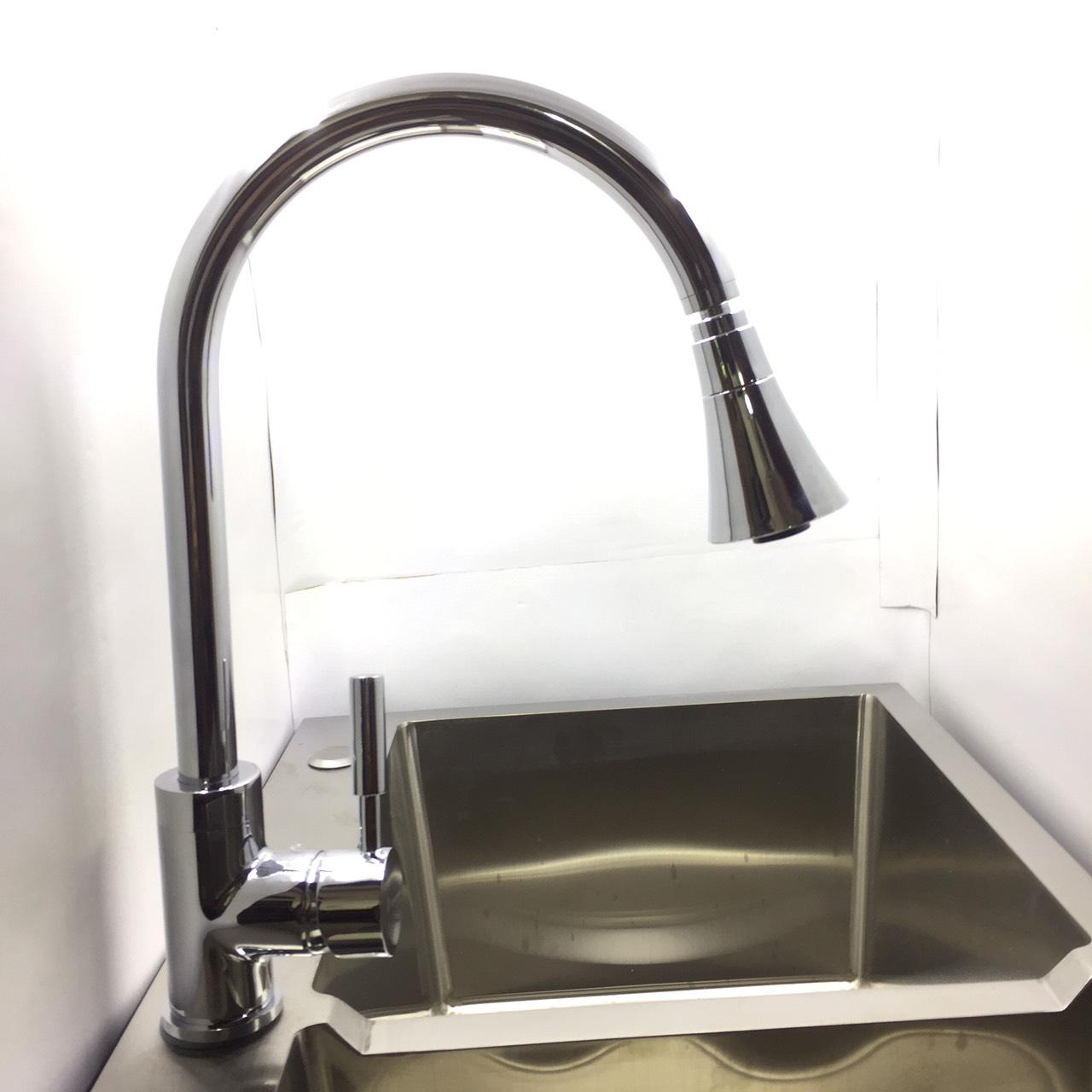 Vòi Rửa Bát Cắm Chậu 2 Chiều Nóng Lạnh Có Đầu Xoay 360 Độ - Vòi Rửa Bát Đồng Thau Mạ Chrome Cao Cấp