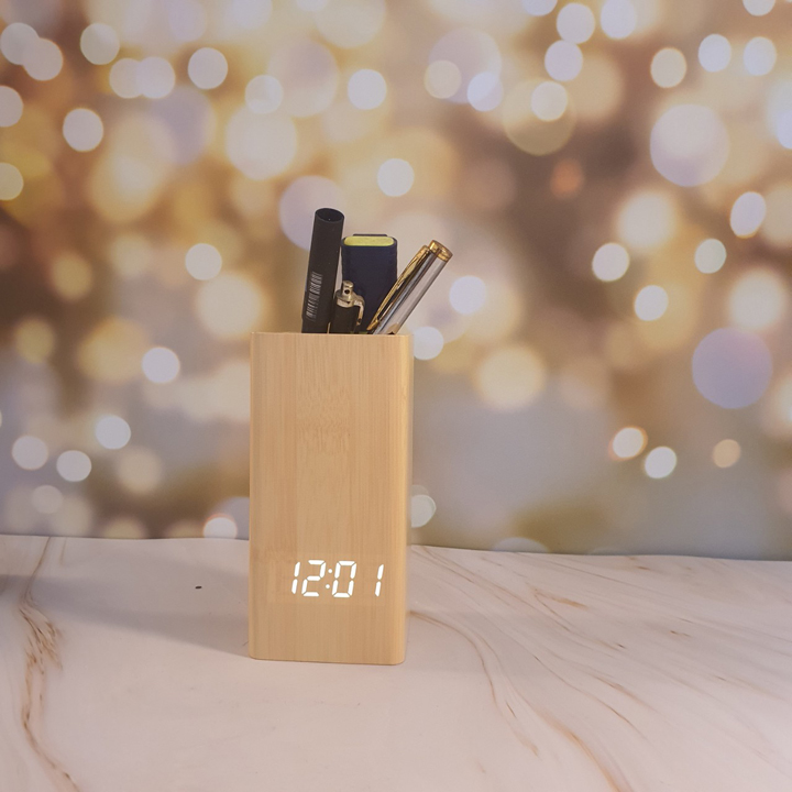 Hộp đựng bút có đồng hồ báo thức nhiệt độ - L0010