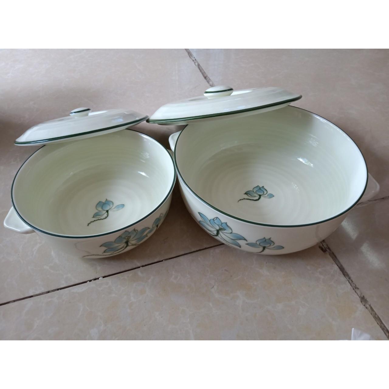 02 sản phẩm âu đựng cơm canh gốm sứ Bát Tràng
