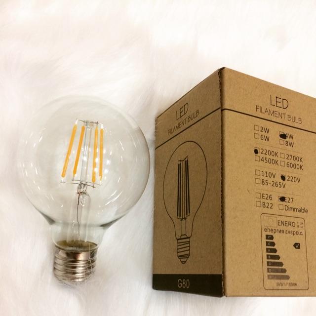 Combo 5 Bóng Đèn LED G80 Giả Sợi Đốt Công Suất 4W Dùng Để Trang Trí Và Chiếu Sáng