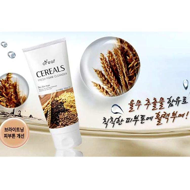 Sữa rửa mặt chiết xuất Lúa Mạch BEBECO Hàn Quốc OREAF CEREALS FRESH FOAM CLEANSER 150ml