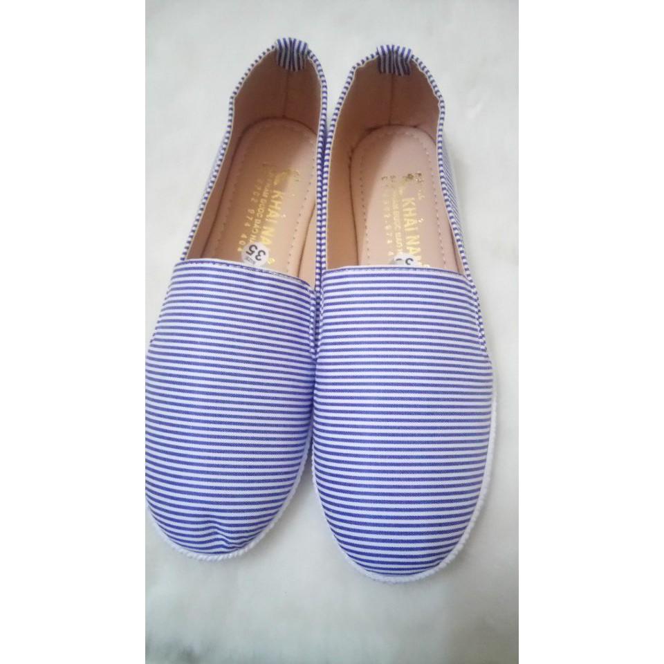 Giày lười sọc -2 màu (có khung giá sỉ)