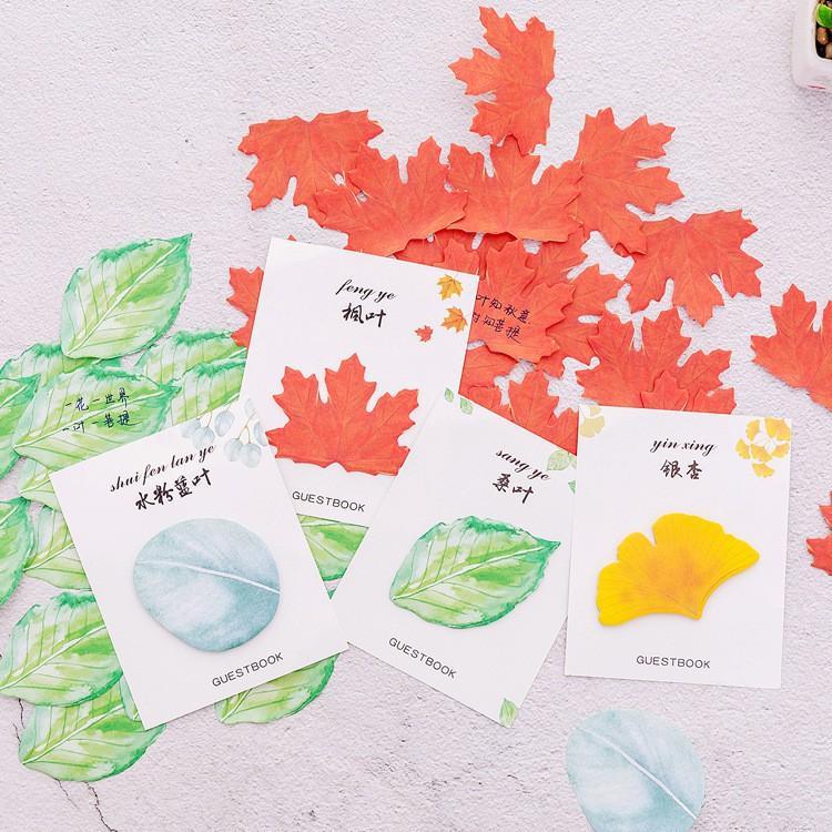 Giấy nhớ hình lá cây nhiều màu sắc dễ thương xinh xắn (15 tờ)