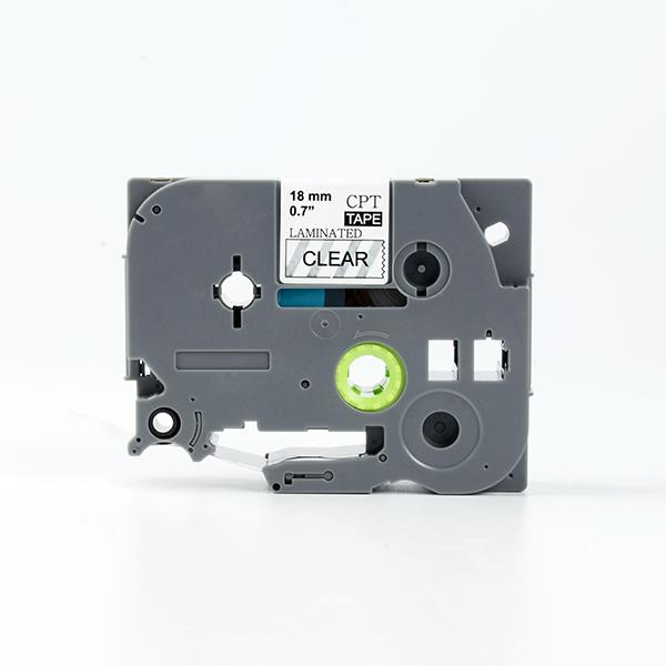 Tape nhãn in tương thích CPT-141 dùng cho máy in nhãn Brother P-Touch (chữ đen nền trong, 18mm)